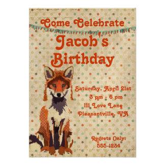 Convite retro do aniversário do Fox vermelho