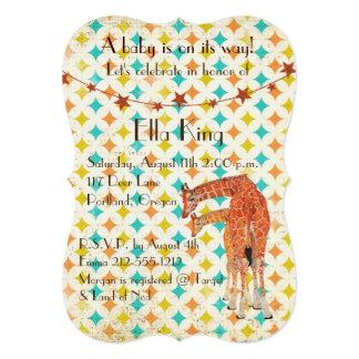 Convite retro do bebê dos girafas