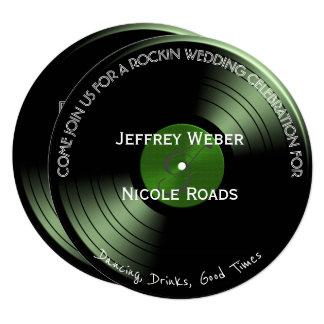 Convite retro do casamento do registro de vinil do
