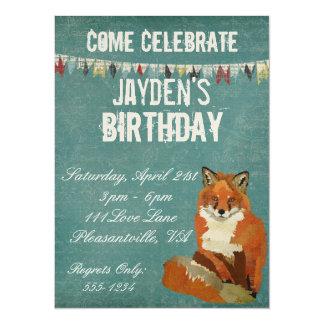 Convite retro vermelho do aniversário do Fox