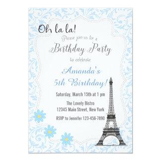 Convite romântico azul do aniversário de Paris
