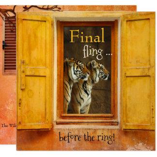 Convite romântico da festa de solteira do tigre