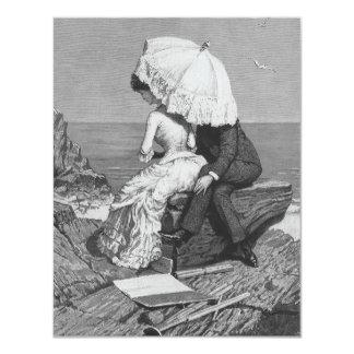 Convite romântico da praia do casal do Victorian