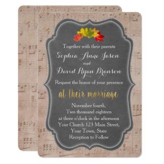 Convite romântico do casamento da folha de música