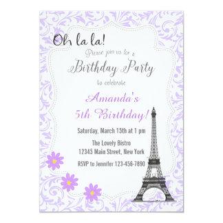 Convite romântico roxo do aniversário de Paris