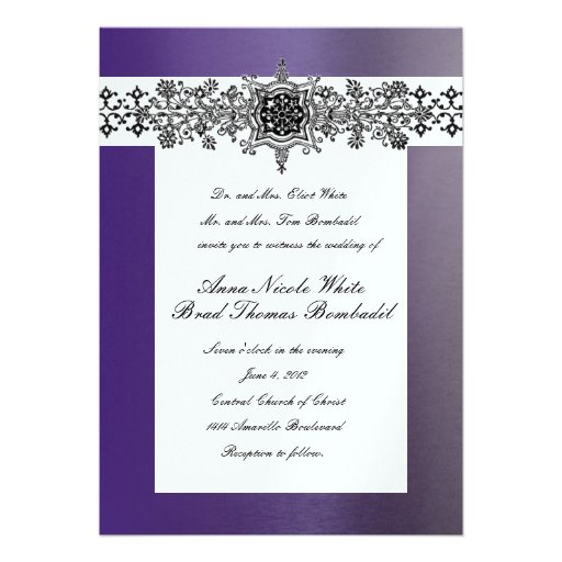 Convite roxo azul brilhante do casamento de Lapis