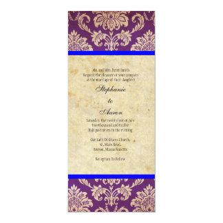Convite roxo azul do casamento tema damasco