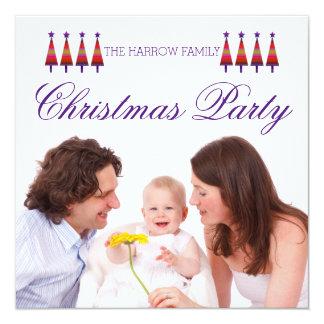 Convite roxo da festa de Natal da família da