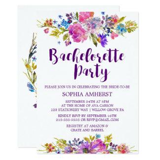 Convite roxo da festa de solteira do jardim da