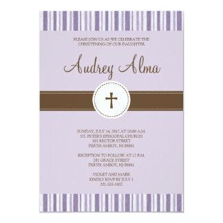 Convite roxo da listra do batismo