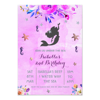 Convite roxo da menina do aniversário da sereia da
