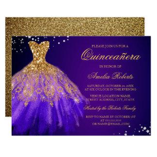 Convite roxo de Quinceanera do vestido da faísca