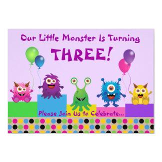 Convite (roxo) do aniversário do monstro