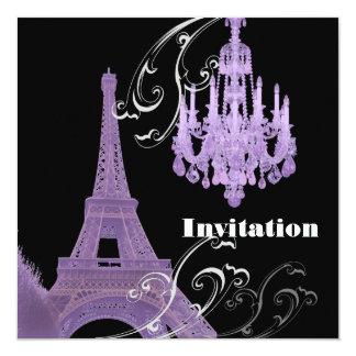 Convite roxo do casamento da torre de Effiel do