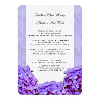 Convite roxo do casamento do Hydrangea