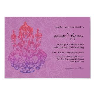 Convite roxo do casamento do Lilac de Ganesh do Convite 12.7 X 17.78cm