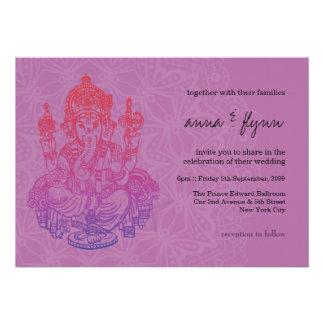 Convite roxo do casamento do Lilac de Ganesh do in