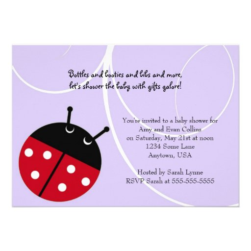 Convite roxo do chá de fraldas da senhora Desinset