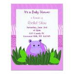 Convite roxo do chá de fraldas do hipopótamo convite 10.79 x 13.97cm