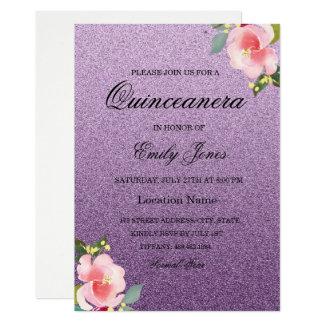 Convite roxo floral de Quinceanera do brilho do