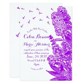 Convite roxo romântico do casamento da flor