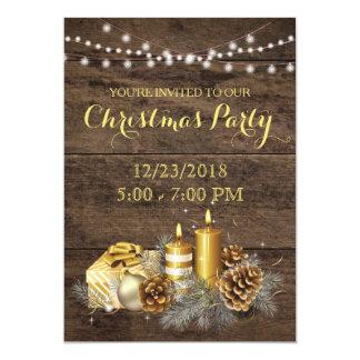 Convite rústico da festa de Natal do país do ouro