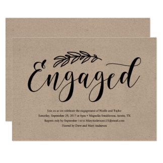 Convite rústico da festa de noivado