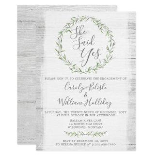 Convite rústico da festa de noivado da madeira &