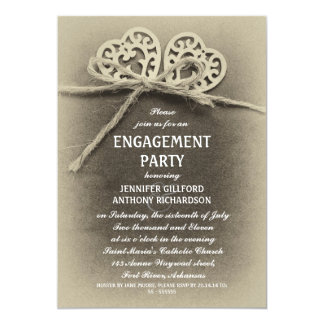 convite rústico da festa de noivado do vintage