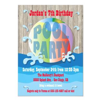 Convite rústico da festa na piscina com bola de