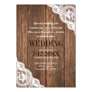 Convite rústico da madeira e do casamento do laço