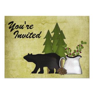 Convite rústico da reunião de família do urso da convite 13.97 x 19.05cm