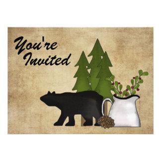 Convite rústico da reunião de família do urso da m