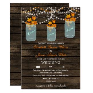Convite rústico de madeira do casamento outono do convite 12.7 x 17.78cm