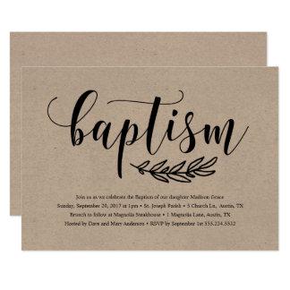 Convite rústico do baptismo