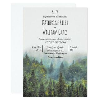 Convite rústico do casamento da floresta