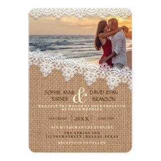 Convite rústico do casamento da foto do laço de