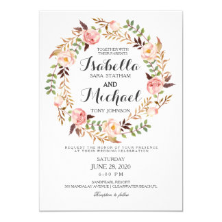 Convite rústico do casamento da grinalda floral