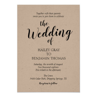 Convite rústico do casamento da simplicidade