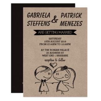 Convite rústico do casamento do casal do Doodle