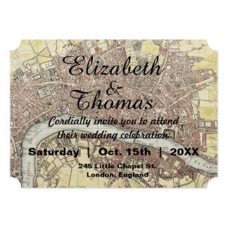 Convite rústico do casamento do mapa de Londres do