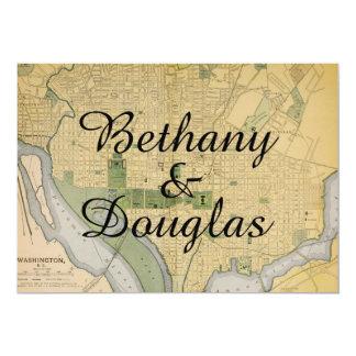 Convite rústico do casamento do mapa do Washington