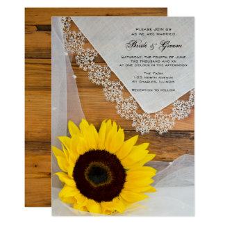 Convite rústico do casamento do país do laço do