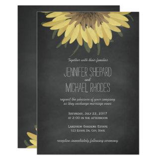 Convite rústico do casamento do quadro do girassol convite 12.7 x 17.78cm
