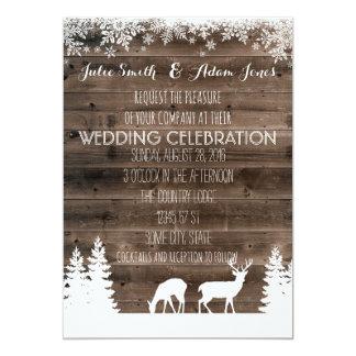 Convite rústico do casamento no inverno - cervo