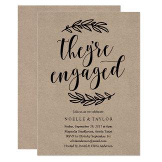 Convite rústico do comensal da festa de noivado