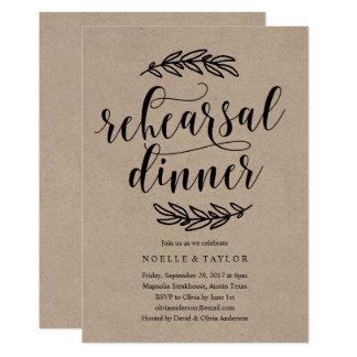 Convite rústico do jantar de ensaio