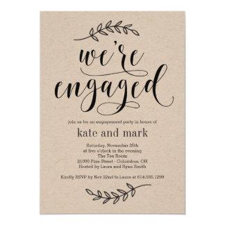 Convite rústico Kraft da festa de noivado da