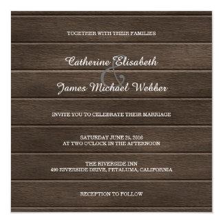 Convite rústico quadrado do casamento, fundo de