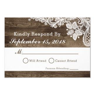 Convite rústico RSVP da madeira & do casamento do